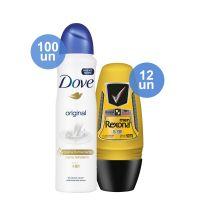 Combo COMPRE 100 Desodorante Antitranspirante Dove Aerosol Original 89g Ganhe 12 Desodorante Antitranspirante Roll On Rexona Men V8 50ml - Cod. C12380