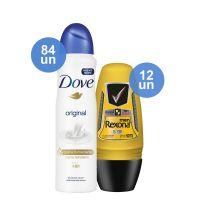 Combo COMPRE 84 Desodorante Antitranspirante Dove Aerosol Original 89g Ganhe 12 Desodorante Antitranspirante Roll On Rexona Men V8 50ml - Cod. C12381