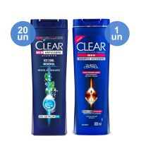 Combo COMPRE 20 Shampoo Anticaspa CLEAR Men Ice Cool Menthol 200ml Ganhe 1 Shampoo Anticaspa CLEAR Men Queda Control 200ml - Cod. C12391