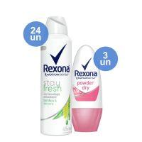 Combo COMPRE 24 Desodorante Aerosol Rexona Bamboo + Aloe Vera 150ml Ganhe 3 Desodorante Roll On Rexona Women Powder 30ml - Cod. C12458
