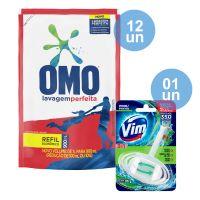COMPRE 12 Sabão Líquido Omo Lavagem Perfeita Refil 900ml GANHE 1 Bloco Sanitário VIM 3 em 1 Pinho 35g - Cod. C12632