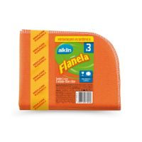 Flanela 28X38 PP Alklin Emb. Econômica 3 unidades Laranja - Cod. 7897750770696