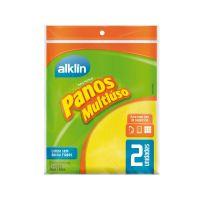 Pano Multiúso 40x36 Alklin Amarelo 2 unidades - Cod. 7897750770023