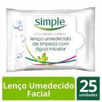 Lenço de Limpeza Facial Simple Micelar 25 folhas | 3 Unidades - Cod. C15738
