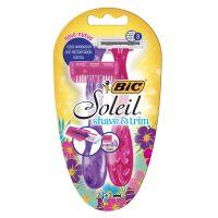 Aparelho de Depilar BIC Soleil Shave & Trim Rosa e Roxo c/ 2 unidades + Aparador de pelos - Cod. 70330738133