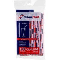 Canudo Flexivel Sachê 6mm Branco/Vermelho Strawplast   Pacote com 100 Unidades - Cod. 7898202613042