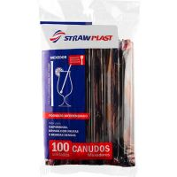 Canudo Mexedor Sachê 17,5X6mm Preto Strawplast | Pacote com 100 Unidades - Cod. 7898202614032