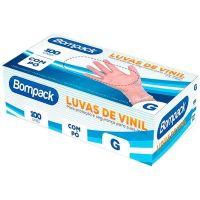 Luva Descartável Vinil Tamanho G Bompack 100un    Caixa com 100un - Cod. 7898921461252C100