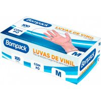 Luva Descartável Vinil Tamanho M Bompack 100un    Caixa com 100un - Cod. 7898921461245C100