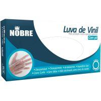 Luva Descartável Vinil Tamanho M Nobre 100un    Caixa com 100un - Cod. 7898513079704C100