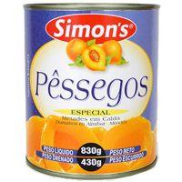 Pêssego em Calda Metade Simons 430g - Cod. 7896305800031