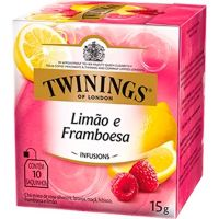Chá de limão e Framboesa Twinings 15g | Caixa com 12 Unidades - Cod. 701771696408C12