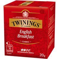 Chá Inglês Preto English Breakfast Twinings 20g | Caixa com 10 Unidades - Cod. 701771971314C10