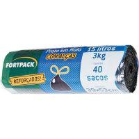 Saco para Lixo Preto Fortlar 15L | Com 40 unidades - Cod. 7898078485460