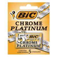 Lâmina Duplo Fio BIC Chrome Platinum c/ 5 unidades | Caixa com 1 - Cod. 070330709003