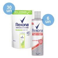 Compre 30 Sabonete Líquido Rexona Bamboo Fresh 200Ml Refil   Ganhe 6 Álcool Em Gel Para As Mãos Rexona Com Glicerina 300Ml - Cod. C29286