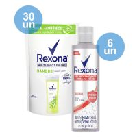 Compre 30 Sabonete Líquido Rexona Bamboo Fresh 200Ml Refil   Ganhe 6 Álcool Em Gel Para As Mãos Rexona Original 300Ml - Cod. C29291