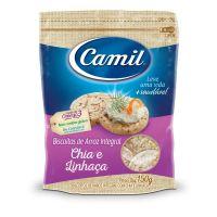 Biscoito de Arroz Integral com Chia e Linhaça Camil 150g - Cod. 7896006716471