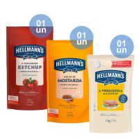Combo - 1 Ketchup Hellmann's Profissional 1.01kg  + 1 Mostarda Hellmann's Profissional 1.01kg + 1 Maionese Hellmann's Doypack 1kg - Cod. C32806