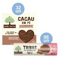 Combo COMPRE 32 Cacau Em Pó Mãe Terra Sem Açúcar 100G  |  GANHE 6 Biscoito Orgânico Tribos Cacau 130G - Cod. C33360