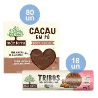 Combo COMPRE 80 Cacau Em Pó Mãe Terra Sem Açúcar 100G  |  GANHE 18 Biscoito Orgânico Tribos Cacau 130G - Cod. C33382