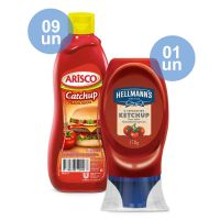Combo COMPRE 9 Catchup Arisco Tradicional 390G  |  GANHE 1 Ketchup Hellmann'S Squeeze 178G - Cod. C33492