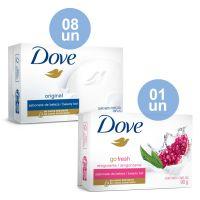 Combo COMPRE 8 Sabonete Em Barra Dove Original 90G  |  GANHE 1 Sabonete Em Barra Dove Go Fresh Revigorante 90G - Cod. C33824