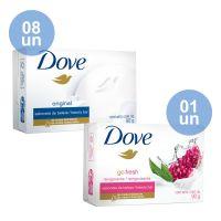 COMPRE 8 Sabonete em Barra Dove Original 90g | GANHE 1 Sabonete em Barra Dove Go Fresh Revigorante 90g - Cod. C35151