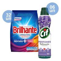 Combo COMPRE 32 Lava Roupas Sanitizante em Pó Brilhante Limpeza Total 800g   GANHE 6 Limpa Pisos Cif Perfumes Relaxante 450mL - Cod. C36094