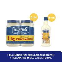 Kit Maionese Hellmann's 500g + Molho para Salada Hellmann's Caesar 210mL - Cod. C37615