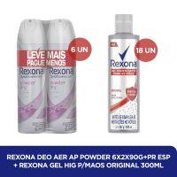 Kit Rexona Aerosol Powder Dry + Rexona Alcool em Gel 300mL - Cod. C37620