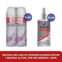 Kit Rexona Aerosol Powder Dry + Rexona Alcool em Gel Spray 120mL - Cod. C37621