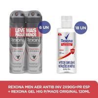 Kit Rexona Aerosol Antibacteriano Masculino + Rexona Alcool em Gel 120mL - Cod. C37623