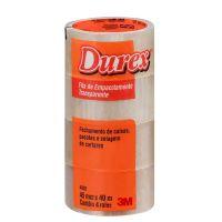Fita de Empacotamento Durex Transparente 45 mm x 40 m c/4 - Cod. 7891040144693