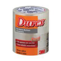 Fita Adesiva Durex Transparente 18 mm x 50 m - 6 rolos - Cod. 7891040149322