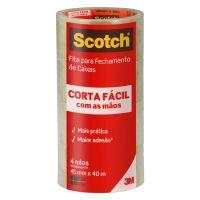 Fita de Empacotamento Scotch Corta Fácil - 45 mm x 40 m - 4 rolos - Cod. 7891040241361