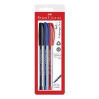 Caneta Esferográfica Faber-Castell Trilux 1.0 Azul Preto Vermelho 3 Cores | Caixa com 1 - Cod. 7891360583875