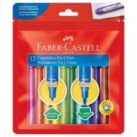 Canetinha Hidrográfica Faber-Castell Vai e Vem 12 Cores - Cod. 7891360612650