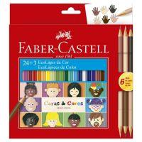 Ecolápis de Cor Faber-Castell Caras & Cores 24 + 6 Tons de Pele - Cod. 7891360656234