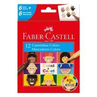 Canetinha Hidrográfica Faber-Castell Caras & Cores 6+6 Tons de Pele - Cod. 7891360662082