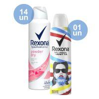 Combo COMPRE 14 Desodorante Antitranspirante Rexona Fem Aerosol POWDER/ROSA 150ml GANHE 1 Desodorante Rexona by Anitta Aerosol Antitranspirante Bang 150mL - Cod. C40498