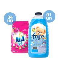 Combo COMPRE 34 Detergente em Pó ALA Rosas e Flor de Lis 500g GANHE 1 Amaciante Diluído Fofo Chamego Azul 1,8L - Cod. C40524