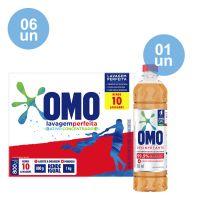 Combo COMPRE 6 Sabão em Pó OMO Lavagem Perfeita 800g GANHE 1 Desinfetante Omo Pinho 500mL - Cod. C40552