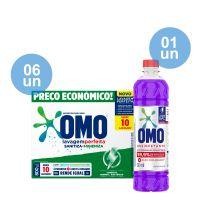 Combo COMPRE 6 Lava-Roupas em Pó Omo Lavagem Perfeita Sanitiza & Higieniza 800g GANHE 1 Desinfetante Omo Lavanda 500mL - Cod. C40589