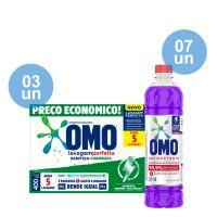 Combo COMPRE 3 Lava-Roupas em Pó Omo Lavagem Perfeita Sanitiza & Higieniza 400g GANHE 7 Desinfetante Omo Lavanda 500mL - Cod. C40594