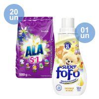 Combo COMPRE 20 Detergente em Pó ALA Flor de Cerejeira e Lavanda 500g GANHE 1 Amaciante de Roupa Super Fofo Concentrado Cheirinho de Bebê 500mL - Cod. C40615