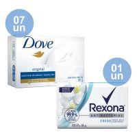 Combo COMPRE 7 Sabonete em Barra Dove Original 90g GANHE 1 Sabonete em Barra Rexona Antibacterial Fresh 84gr - Cod. C40626