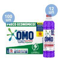 Combo COMPRE 100 Lava-Roupas em Pó Omo Lavagem Perfeita Sanitiza & Higieniza 800g GANHE 12 Desinfetante Omo Lavanda 500mL - Cod. C40713