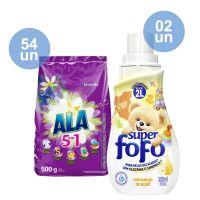 Combo COMPRE 54 Detergente em Pó ALA Flor de Cerejeira e Lavanda 500g GANHE 2 Amaciante de Roupa Super Fofo Concentrado Cheirinho de Bebê 500mL - Cod. C40745