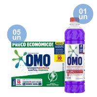 Combo COMPRE 5 Lava-Roupas em Pó Omo Lavagem Perfeita Sanitiza & Higieniza 800g GANHE 1 Desinfetante Omo Lavanda 500mL - Cod. C40952